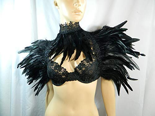 Set schwarz Federstola und Federkragen Gothic Krähe Rabe Kostüm Karneval - Hat Dance Kostüm