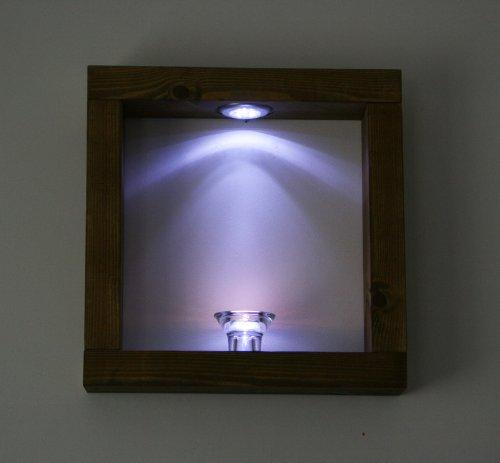 Nouveau Lot de 2 serviettes de main en bois de pin massif Cube étagères Chêne foncé avec lampes LED Blanc