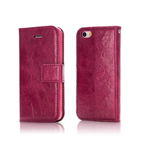 Verrückte Pferd Textur Abnehmbare Design PU Leder Geldbörse Tasche Tasche mit Kartensteckplätzen für iPhone 5 & 5s & SE ( Color : Wine ) Wine