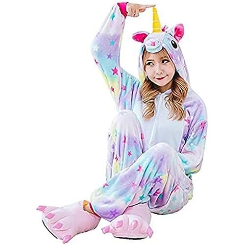 pijama de unicornio kawaii Pijama de Una Pieza Adulto Unisexo Trajes Animales Mono Cosplay Kigurumi Onesie con Capucha Jumpsuit Romper Ropa de Dormir para Mujer Hombre Disfraz de Halloween Carnaval Navidad Festival – Landove
