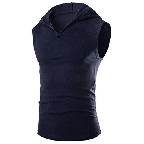 Herren Sommer Mode Mit Kapuze Pullover Amlaiworld Tank Herren Ärmellos T-Shirt (Navy, XXL) (ärmelloses Shirt Mit Kapuze)