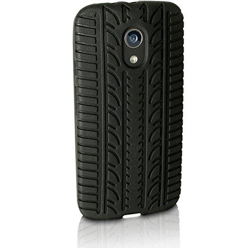 iGadgitz U3430 Silikon-Schutzhülle für Motorola Moto G 2. Generation XT1068 Gummi-Abdeckung mit Folie, schwarz