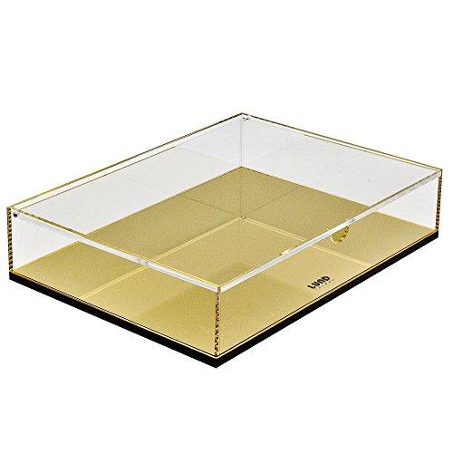 Flash Doré Grande boîte de rangement avec couvercle en acrylique et Coiffeuse Organiseur pour accessoires de bureau, cosmétiques, articles de papeterie et effets personnels