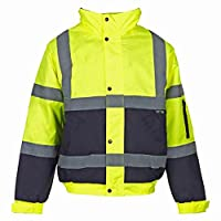 Hi Viz Bomber Jacket Two Tone Reflective Tape Waterproof Quilted Work Jacket Coat High Vis Safety Workwear Security Road Works Concealed Hood Fluorescent Flashing EN471