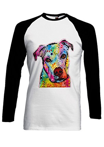 PatPat Store Dog Animal Doggie Cute Painting Art Novelty Black/White Men Women Unisex Long Sleeve Baseball T Shirt-M (T-shirt Doggy Top Dog)