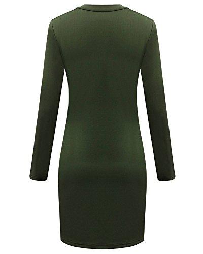 ZANZEA Femme Sexy Zip Manches Longues Bohême Mini Robe Soirée Col Rond Pencil Dress Partie Longue Top Clubwear Armée Verte