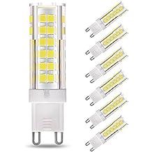 LAKES G9 LED Bombilla, 7W (equivalente a la bombilla halógena de 60W), no regulable, ángulo de haz de 360 grados, luz diurna blanca 6000K, bombillas de bajo consumo, 6-PACK
