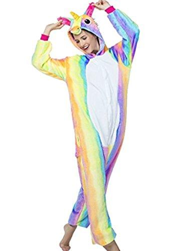 KiKa Monkey Kinder Einhorn-Karikatur-Flanell-Tierneuheit-Kostüme Cosplay Pyjamas (S:148-160CM, (Regenbogen Kostüm Kinder)