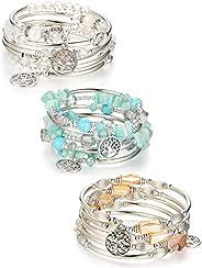 ORAZIO Layered Charm Bangle Wrap Bracelets for Women Handmade Crystal Turquoise Metal Beaded Strand Bracelets