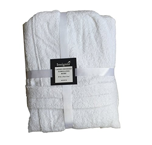 Damen Bademantel Frottee 100% Baumwolle Robe Insignia weiß mit Kapuze
