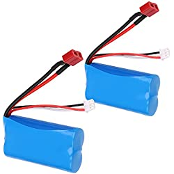 Crazepony-UK 2PCS x 2S Battery 7.4V 1500mAh Bateria 15C Universal for WLtoys 4WD RC Cars 12403 12401 12402 12404 12428 Spare Part Replacement