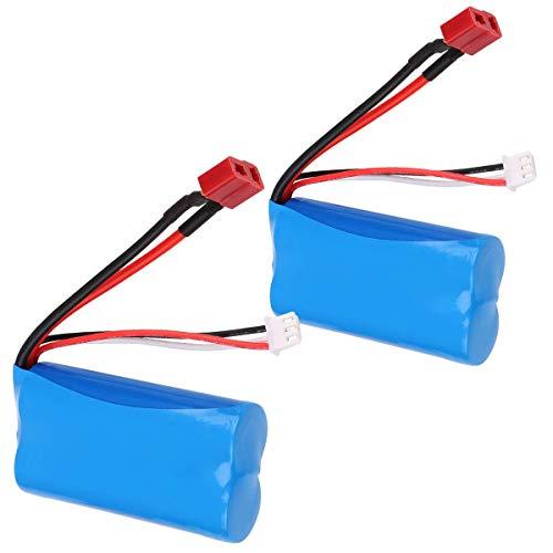Crazepony-UK 2PCS x 2S Lipo Battery 7.4V 1500mAh Akku 15C Universal for WLtoys 4WD Rc Cars 12403 12401 12402 12404 12428 Spare Part Replacement