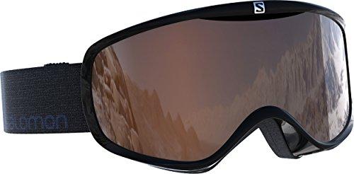 Salomon Sense Access Damen-Skibrille, geeignet für Brillenträgerinnen, verschiedenste Wetterverhältnisse, orangefarbene Scheibe (auswechselbar), Airflow System, schwarz, L39078700
