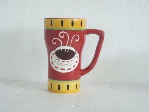 Hand Painted Hot Coffee Fleur De Lis Red/yellow rim Ceramic Mug, 1-Piece 6-1/4H, 80127 by ACK by ACK Fleur Rim
