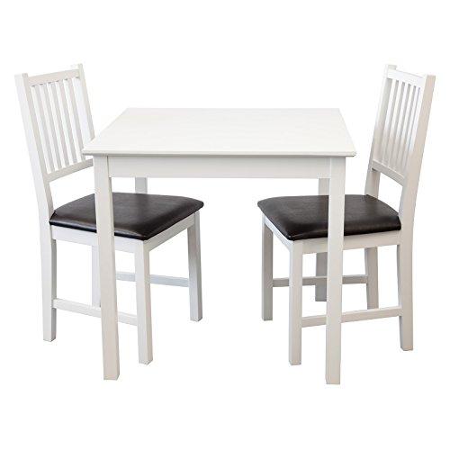 Tischgruppe Lucca (Weiss, Tisch 80x80cm +2 x Stühle), Esszimmertisch mit Stühlen (Birke Tischsets)