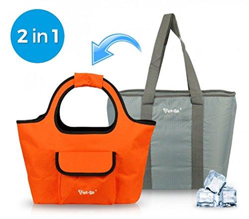 Borsa Mare piu Borsa Termica FREE-GO 2 IN 1 Shopper Moda Mare Summer ARANCIO