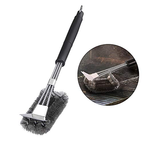 Yilear BBQ Grill Brush Grill Brush Cleaner Upgraded 3 in 1 Stainless Steel Wire Cleaning Brush with Scraper for 360°Clean, Easy and Efficient to Remove Stains & Debris