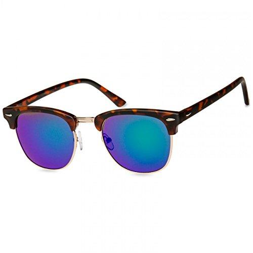 Caspar SG040 Unisex Vintage RETRO Design Sonnenbrille, Farbe:horn-optik/grün verspiegelt