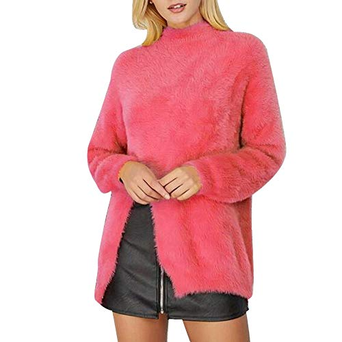Hanomes Damen pullover, Damen Stehkragen Solid Plus Size Plüsch Winter Warm Bluse Easy Top Tunika Shirt