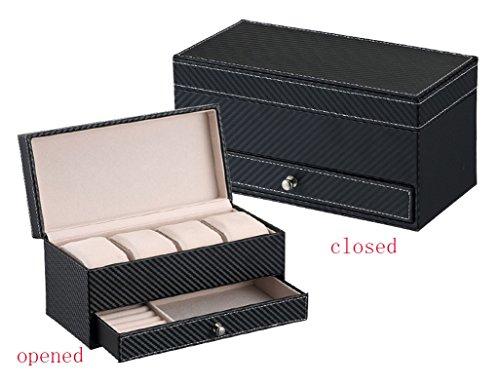 Étui cosmétique HWF Regarder la Boite de Rangement de la Boîte de Rangement Boîte de Montre en Cuir Organisateur (Couleur : Black)