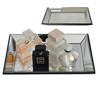 Maison Des Cadeaux New Decorative Gold and Silver Metal Serving/Dressing Table Trays With Mirror Glass Bases (AR55)
