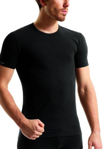 2x Brubeck Herren `Smooth Skin´ T-Shirt, körperbetont , moderne Form nahtlos Schwarz