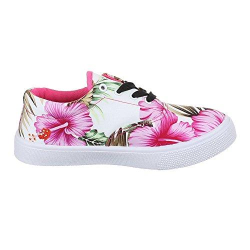 Ital-Design Damen Schuhe, G867, Freizeitschuhe Sneakers Low-Top Weiß Multi