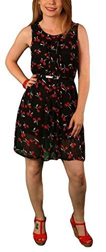 Shikha London, Damen Ärmelloses Skaterkleid, Viele Styles Schwarz Kirschen
