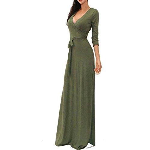 culater-slido-v-cuello-de-las-mujeres-3-4-cintura-del-abrigo-largo-vestido-de-maxi-xl-ejercito-verde