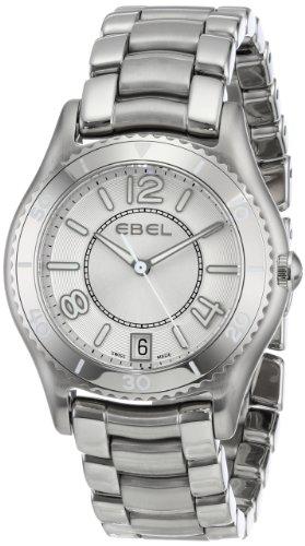 Ebel Women's X-1 34mm Steel Bracelet & Case S. Sapphire Swiss Quartz Silver-Tone Dial Analog Watch 1216107