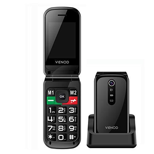 VIENOD VF241 Mobiltelefon Senioren-Handy ohne Vertrag, 2,4-Zoll-Display Klapphandy Mit Großen Tasten, Mit Notruftaste, Kamera und Taschenlampe(Schwarz)