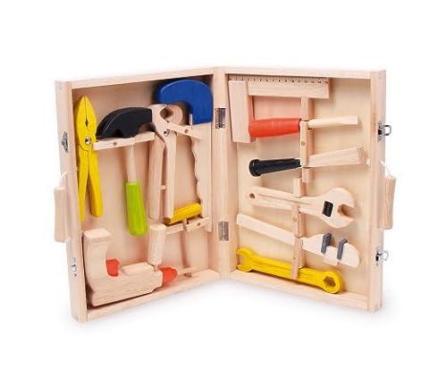"""Kinder Werkzeugkoffer """"Lino"""" aus Holz, mit 12 Werkzeugen vom Hammer bis zur Bohrmaschine, für die motorischen Erstversuche kleiner Handwerker ab 3 Jahren"""