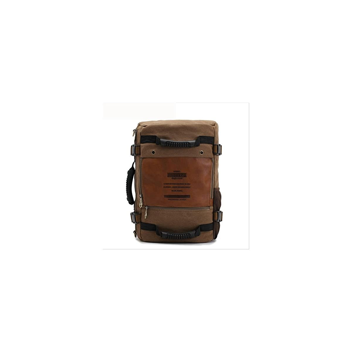 41R42LJP8UL. SS1200  - beibao shop Backpack-Aleatorio Caballero Packs Daypack Moda Lienzo Piel Viaje Senderismo Mochilas Ciudad universitaria Mochila Hombro Bolsa Portátil, Tablet, PC