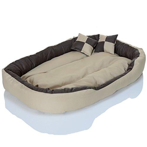 4in1 Hundebett XXL – kuscheliges, waschbares Hundekissen Sofa – Hundekorb Farbe: Creme Gr. L - 4