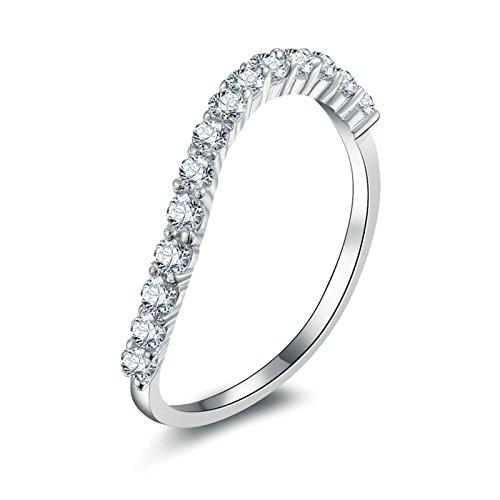 (Custom Ringe)Adisaer Ring Silber 925 Damen Linie Kristall Cluster CZ Strass Twist Verlobungsring Größe 58 (18.5) Kostenlos Gravur