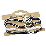 art decor Infinity Armband dunkelblau, Armkettchen, Unendlichkeit Zeichen/Anker, Kompass, Freundschaft, Marine