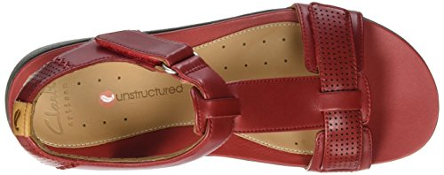 Clarks 261250864, Sandali Donna Rosso (Red Leather)