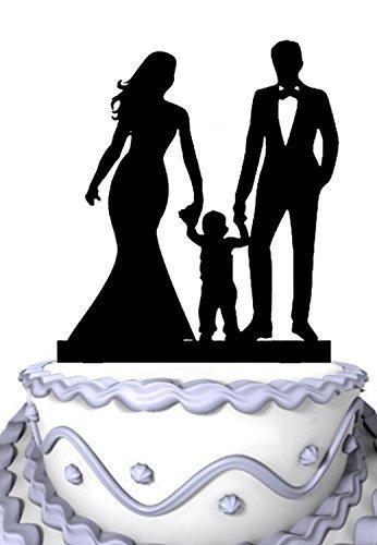 meijiafei Hochzeit Cake Topper, Braut und Bräutigam, mit Kinder Silhouette Familie Jahrestag Kuchen Topper