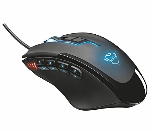 Trust Gaming 21726 Gxt 164 Sikanda Mmo Gaming Mouse For Pc & Laptop, 12 Programmable Buttons With On-board Memory, Black