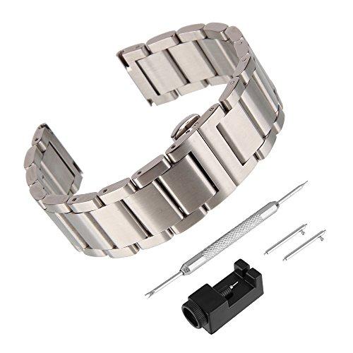 BEWISH 22mm Uhrenarmbänder Edelstahl Ersatzband Solide Metall Schnellwechselbügel Uhrarmband Edelstahlschliesse Uhr Band Schnalle Wechselarmband Uhr Armband Smart Watch Wrist Strap Band Replacement
