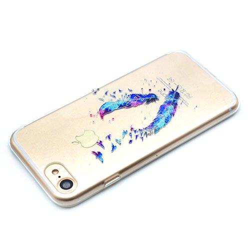 iPhone 7 Hülle,iPhone 7 Silikon Case,iPhone 7 Cover - Felfy Ultradünne Weicher Gel Flexible Soft TPU Silikon Transparent Hülle Schutzhülle Hülle Color Muster Farbmalerei Beschützer Hülle Handy Durchsi Feder Hülle