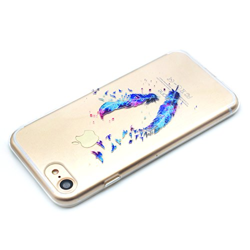 iPhone 6 Silicone Case,iPhone 6S Coque - Felfy Coque Souple Transparente TPU Silicone en Gel Case Premium Ultra-Light Ultra-Mince Skin de Protection Pare-Chocs Anti-Choc Bumper pour Apple iPhone 6/6S  Plume CASE