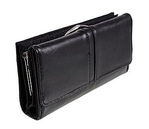 New Quality Womens Soft Sheep Nappa Leather Purse (Black)