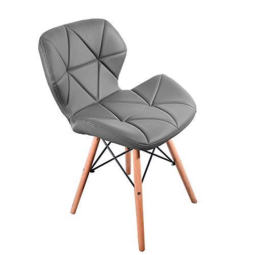 Panana 2er Wohnzimmerstuhl Eiffel Gepolsterter Stuhl Esszimmerstuhl Bürostuhl Holz Holz - Grau