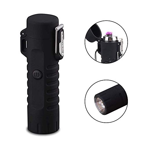 Huafi Klein USB Taschenlampe Extrem Hell,elektronischer Zigarettenanzünder,Mini USB Lade Zigarette Elektronische Dual Arc Feuerzeug Taschenlampe Wasserdicht Wiederaufladbare Outdoor Zubehör (Schwarz)