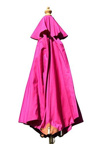 Gartensonnenschirm in Spitzenqualität aus Hartholz - 2m Spannweite - 8 Farben zur Auswahl (Rosa)