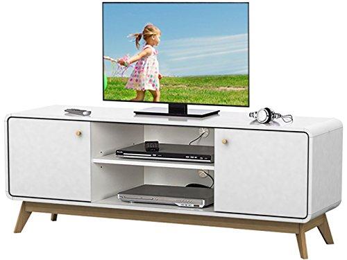 TV-Tisch TV-Board Lowboard Fernsehtisch Fernsehschrank CARMEN FSC Holz, Spanplatte (weiß)