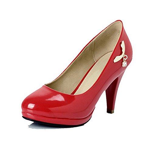 AllhqFashion Femme Couleur Unie Tire Verni Rond Chaussures Légeres Rouge