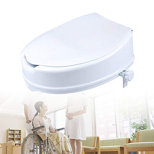 HENGMEI Toilettensitzerhöhung 10 cm mit Deckel Toilettenaufsatz Toilettensitz Toilettenhilfen für Senioren