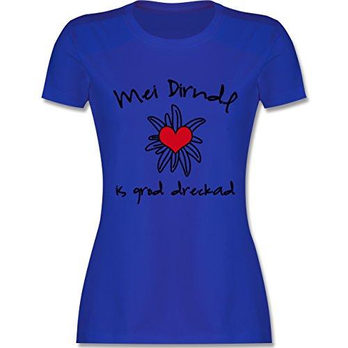 Oktoberfest Damen - Dirndl is dreckad - Shirt statt Dirndl - tailliertes Premium T-Shirt mit Rundhalsausschnitt für Damen Royalblau